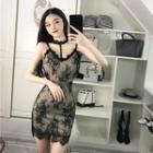 Strappy Mini Sheath Lace Dress