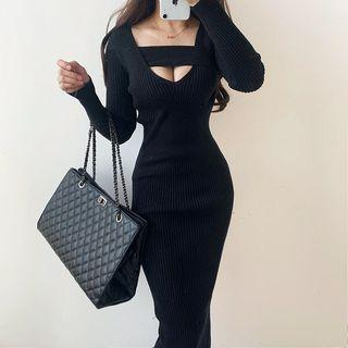 Cut-out Long-sleeve Midi Sheath Dress