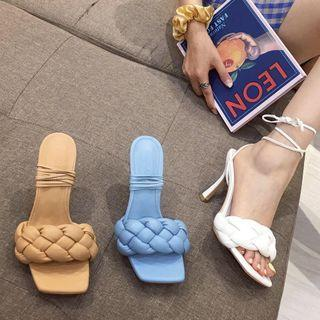 Faux Woven High-heel Tie Up Sandals