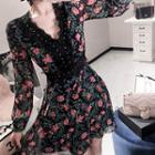 Lace-trim Floralprint Chiffon Dress