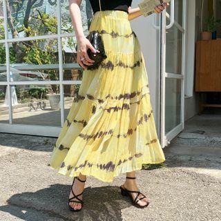 Chiffon Dyed Maxi Tiered Skirt