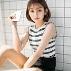Stripe Sleeveless Knit Top