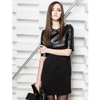 Elbow-sleeve Panel Dress