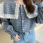 Lace Trim Plaid Sailor-collar Blouse