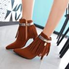 Fringed Pointed High Heel Short Boots