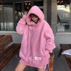 Lettering Applique Fleece Hooded Pullover