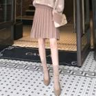 Knit A-line Midi Skirt / Pleated Skirt