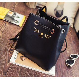Cat Face Embroidered Cross Body Bucket Bag