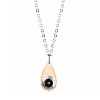 Droplet Diamond Pendant Necklace Rose Gold - One Size