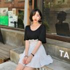 Paperbag-waist Dotted Miniskirt
