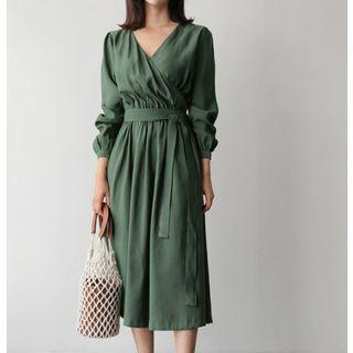 3/4-sleeve A-line Midi Dress Dark Green - One Size