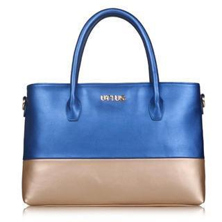 Faux-leather Color-block Tote