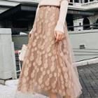 Polka Dot Mesh A-line Skirt