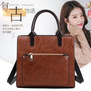 Faux Leather Zip Tote Bag