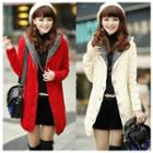 Furry-lined Hooded Long Knit Cardigan