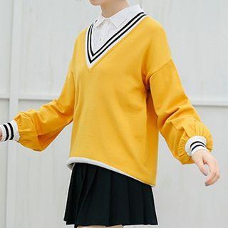 Long-sleeve Stripe-detail V-neck Raglan Top