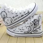 Painted High-top Lace-up Canvas Sneakers