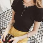 Faux-pearl Ruffle-trim Short-sleeve Knit Top