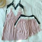 Set: Lace Trim Camisole Top + Shorts