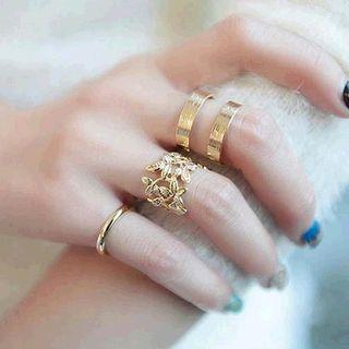 Set Of 3: Alloy Branches / Layered / Polished Ring (assorted Designs)