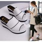 Contrast Wedge Mule Sandals