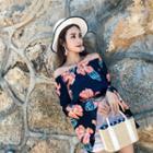 Off Shoulder Floral Long-sleeve Crop Top