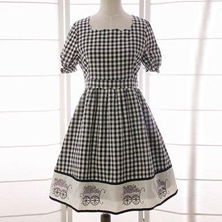 Gingham Short-sleeve A-line Dress