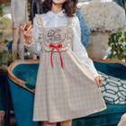 Mushroom Print Check Jumper Dress