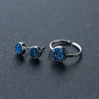 925 Sterling Silver Rhinestone Earrings / Ring