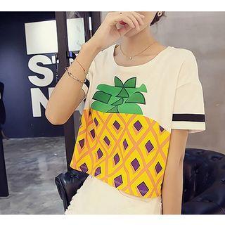 Pineapple Print Cropped Short-sleeve T-shirt