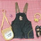 Bear Embroidered Denim Jumper Shorts Black - One Size