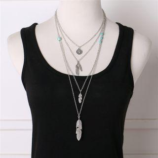 Alloy Feather Layered Necklace Silver - One Size