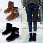 Bobble Faux Leather Short Boots
