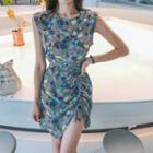 Sleeveless Drawcord Floral Dress With Sash