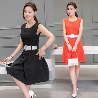 Plain Sleeveless Buttoned Back A-line Dress