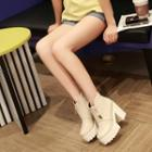 Block Heel Platform Short Boots