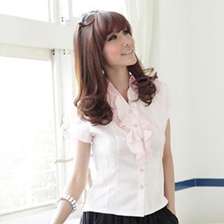 Ruffled Neckline Striped Shirt