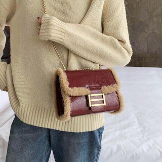 Furry Trim Mini Flap Crossbody Bag