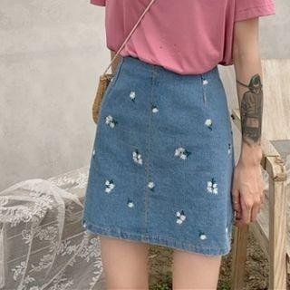 Floral Denim Mini Skirt