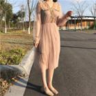 Frill Trim Long Sleeve Mesh Dress With Slipdress