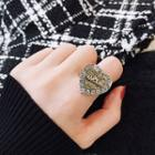 Rhinestone Heart Open Ring Gold - One Size
