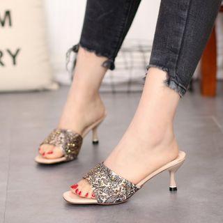 Printed High-heel Sandals