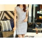 Sleeveless Striped Sheath Dress