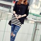 Cutout Elbow-sleeve Top