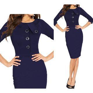 3/4-sleeve Pencil Dress