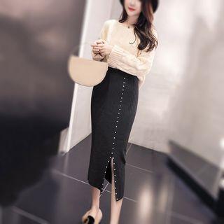 Beaded Midi Rib Knit Skirt