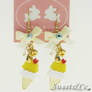 Mini Lemon Ice-cream Gold Ribbon Earrings