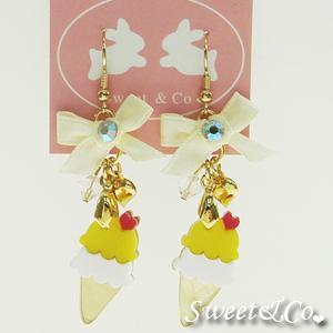 Mini Lemon Ice-cream Gold Ribbon Earrings