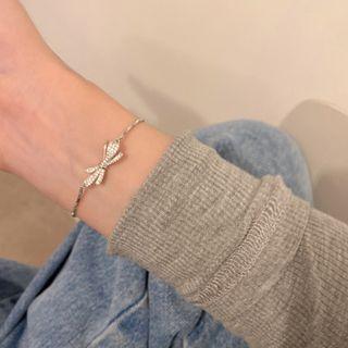 Bow Rhinestone Alloy Bracelet Silver - One Size