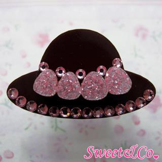 Sweet Pink Swarovski Crystal Strawberry Choco Hat Ring Silver - One Size